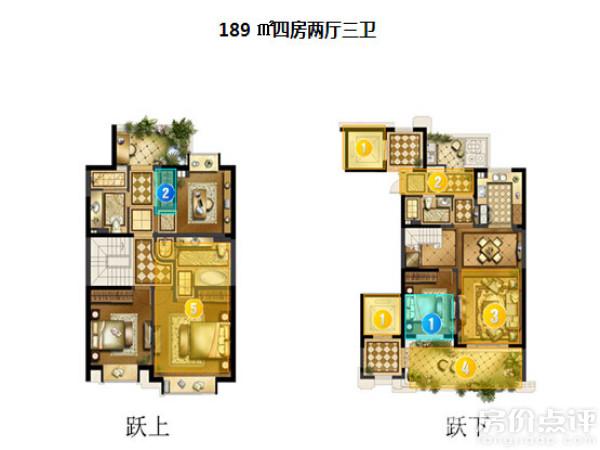 跃层b 189㎡跃层户型在200㎡左右房型里比较方正,面积浪费少,设计和