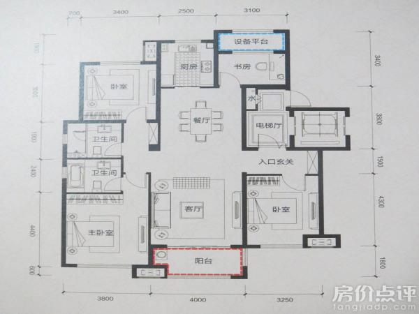 户型图-a4户型三室两厅两卫140㎡图片